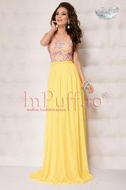 rochie lunga din voal si dantela colorata
