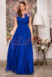 rochie lunga eleganta albastra cu broderie