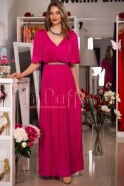 rochie lunga eleganta fucsia