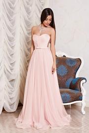 rochie lunga eleganta roz de lux din tul cu bust buretat