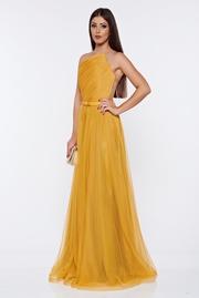 rochie lunga galbena tip corset de lux din tul captusita pe interior