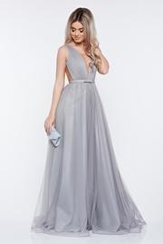 rochie lunga gri de lux din tul captusita pe interior cu decolteu in v