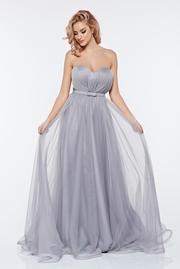 rochie lunga gri de lux din tul cu bust buretat