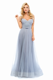 rochie lunga gri de lux tip corset din tul captusita pe interior cu pietre strass