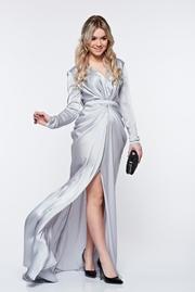 rochie lunga gri sirena de ocazie din material satinat