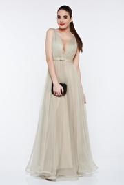 rochie lunga khaki de lux din tul captusita pe interior cu decolteu in v