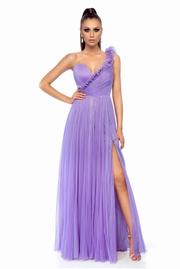 rochie lunga lila de lux din material incretit tip corset cu bust buretat