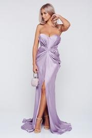rochie lunga lila de lux din material satinat cu push-up