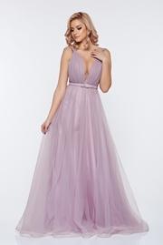 rochie lunga lila de lux din tul captusita pe interior cu decolteu in v