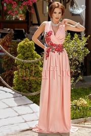 rochie lunga lycra roz cu broderie florala