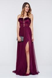 rochie lunga mov de lux cu bust buretat din tul captusita pe interior