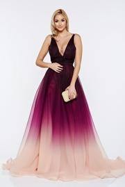 rochie lunga mov de lux cu spatele gol captusita pe interior cu decolteu in v