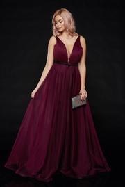 rochie lunga mov de lux din tul captusita pe interior cu decolteu in v