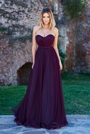 rochie lunga mov de lux din tul cu bust buretat