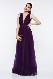rochie lunga mov de lux in clos din tul cu spatele gol