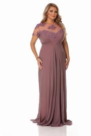 rochie lunga mov de ocazie din voal cu insertii de broderie