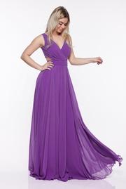 rochie lunga mov de ocazie in clos din material usor elastic cu bust buretat