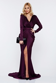 rochie lunga mov sirena de ocazie din material satinat