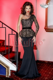 rochie lunga neagra cu bust din dantela aurie
