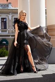 rochie lunga neagra de lux asimetrica pe umar captusita pe interior
