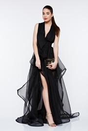 rochie lunga neagra de lux cu decolteu adanc captusita pe interior cu spatele decupat