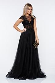 rochie lunga neagra de lux din dantela transparenta si tul captusita pe interior