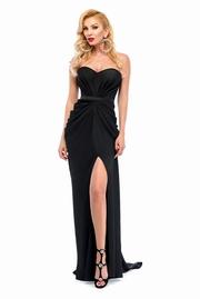 rochie lunga neagra de lux din material satinat cu push-up