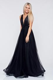 rochie lunga neagra de lux din tul captusita pe interior cu decolteu in v