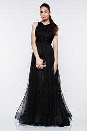 rochie lunga neagra de lux din tul captusita pe interior