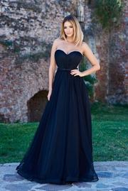 rochie lunga neagra de lux din tul cu bust buretat