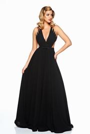 rochie lunga neagra de lux din voal captusita pe interior cu decolteu in v