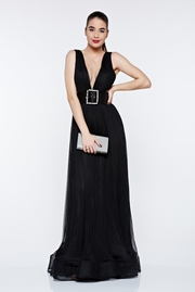 rochie lunga neagra de lux in clos din tul cu spatele gol