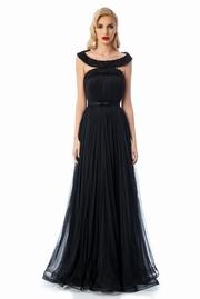 rochie lunga neagra de lux tip corset din tul captusita pe interior