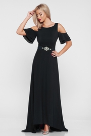 rochie lunga neagra de ocazie asimetrica cu umeri decupati captusita pe interior