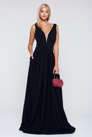 rochie lunga neagra de ocazie cu decolteu fara maneci