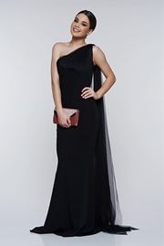 rochie lunga neagra de ocazie cu tul pe umar