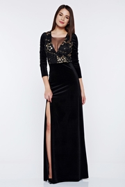 rochie lunga neagra de ocazie din catifea cu maneca lunga