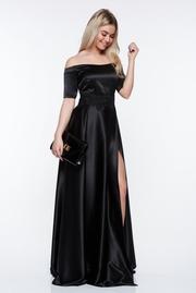 rochie lunga neagra de ocazie din material satinat cu insertii de broderie