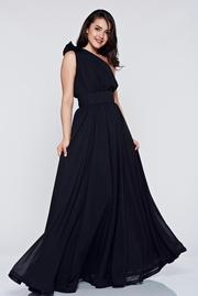 rochie lunga neagra de ocazie din voal pe umar