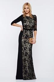 rochie lunga neagra de ocazie lunga sirena cu aplicatii de dantela
