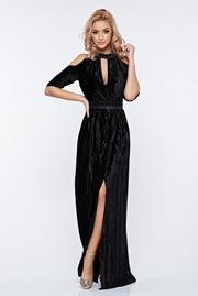 rochie lunga neagra de ocazie petrecuta cu maneci decupate si decolteu adanc
