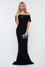 rochie lunga neagra de ocazie sirena cu umeri goi