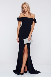 rochie lunga neagra de ocazie sirena pe umeri
