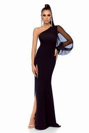 rochie lunga neagra de ocazie tip creion pe umar