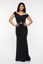 rochie lunga neagra de ocazie tip sirena din material satinat cu decolteu adanc