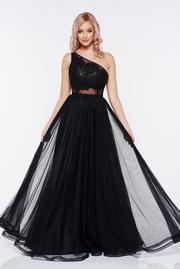 rochie lunga neagra de seara din tul fara maneci