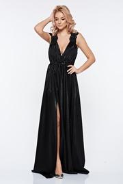 rochie lunga neagra de seara petrecuta cu decolteu adanc din material lucios