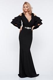 rochie lunga neagra de seara sirena cu umeri goi cu decolteu