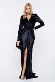 rochie lunga neagra de seara sirena din catifea cu decolteu adanc