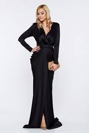 rochie lunga neagra sirena de ocazie din material satinat